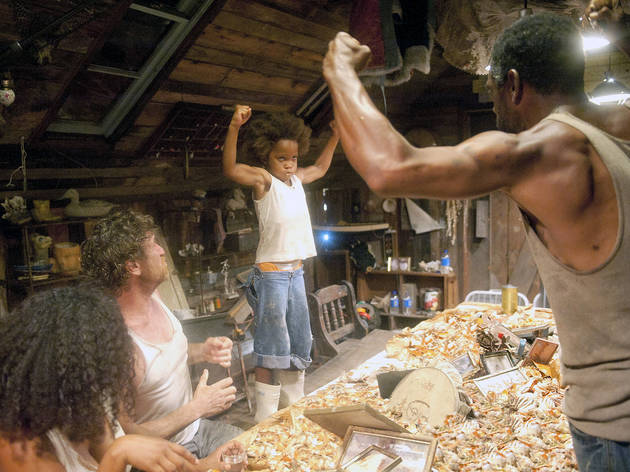 Quvenzhane Wallis, center, and Dwight Henry, far right, in Beasts of the Southern Wild