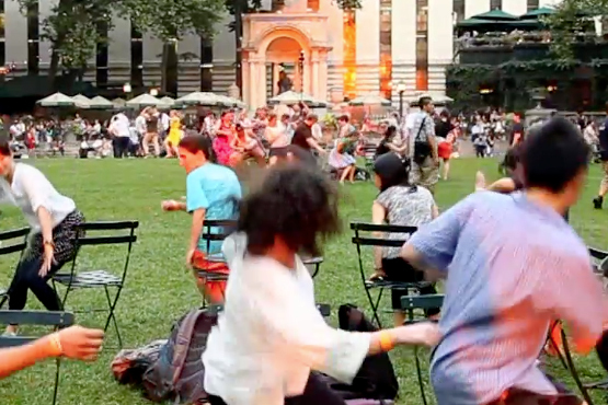 Play musical chairs in Bryant Park