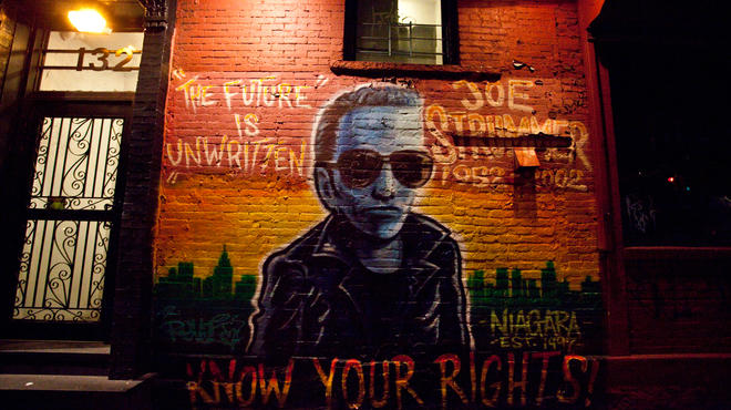 Joe Strummer mural outside Niagara Bar