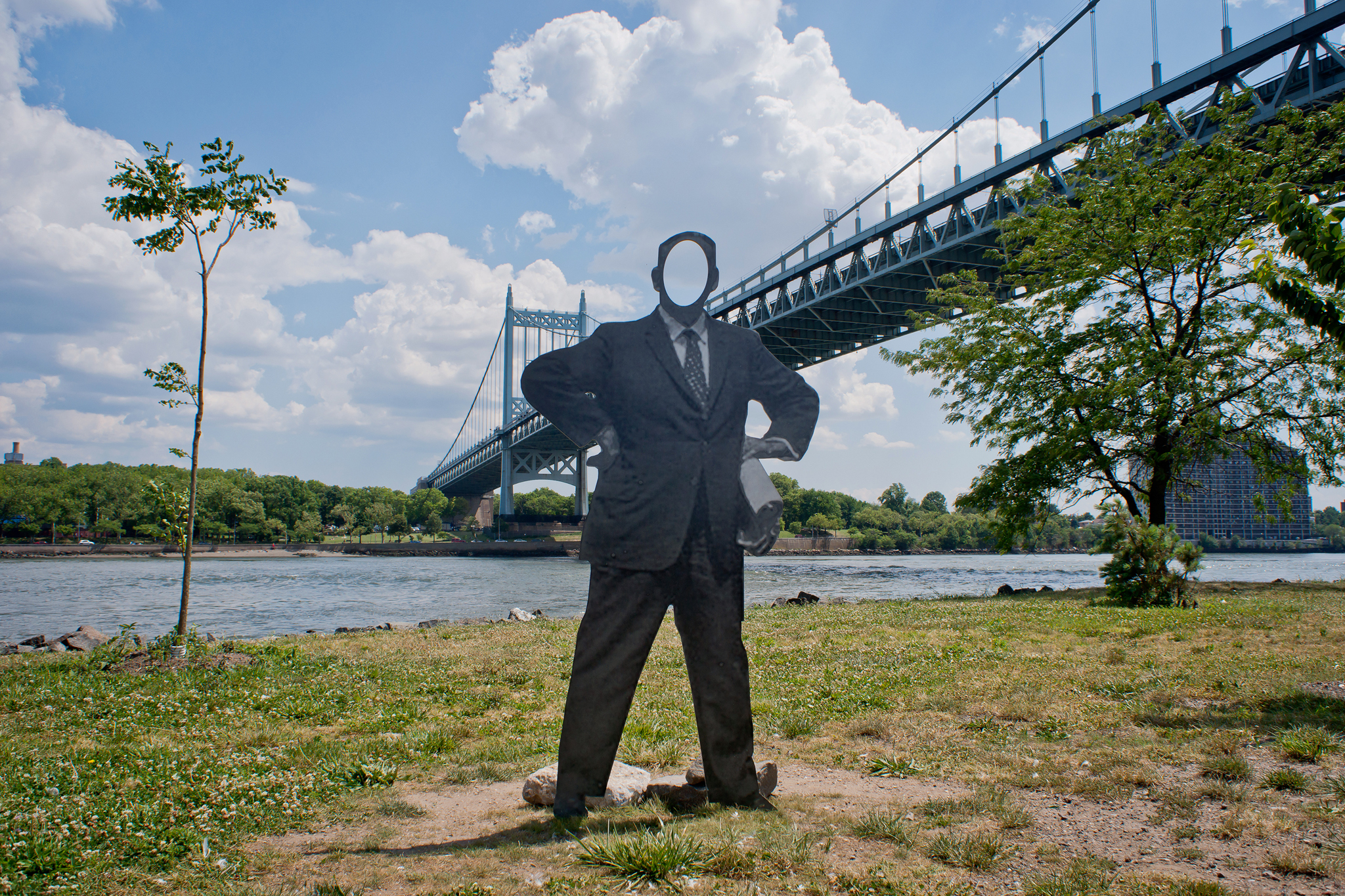 """Flow .12"": Nathan Gwynne, Famous Faces of Randall's IslandGwynne's aluminum cutout figures depict personages associated with the history of Randalls Island, including this one of Robert Moses, New York's imperious Parks Commissioner during the city's m"