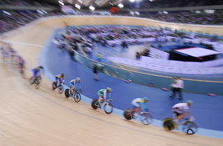(Riders at the UCI Track Cycling World Cup at the Velodrome © Queen Elizabeth Olympic Park)