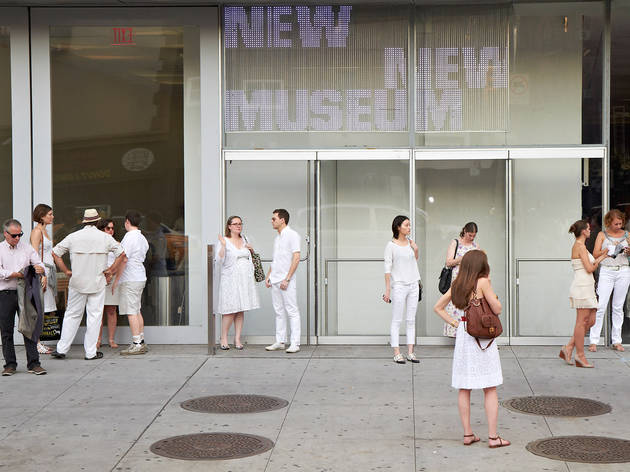 New Museum White Party attendees gather outside.