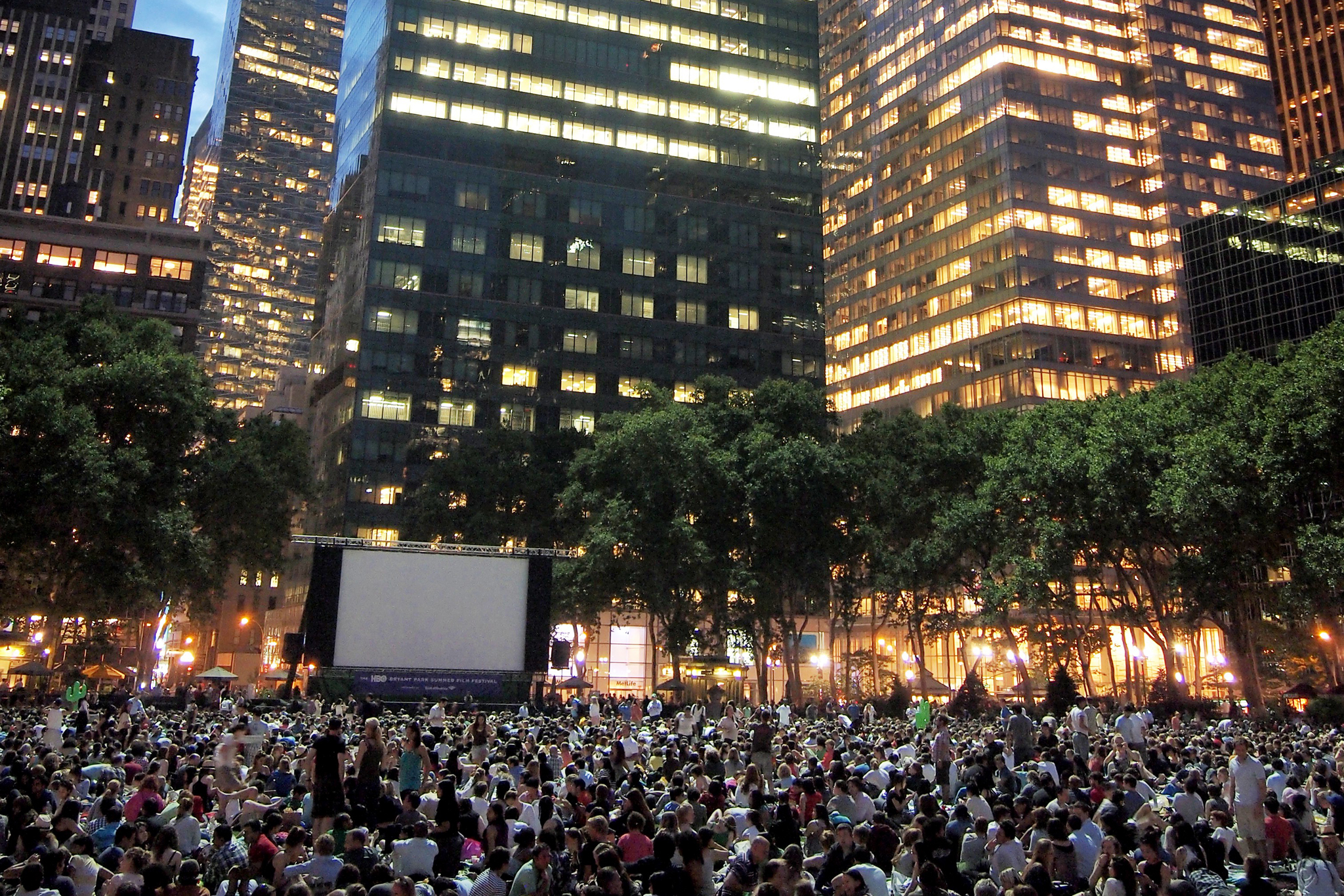 See movies in Bryant Park