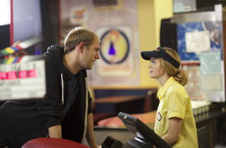 Director Craig Zobel and Dreama Walker on the set of Compliance