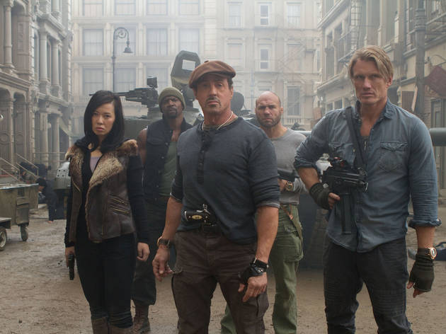 From left: Yu Nan, Sylvester Stallone, Dolph Lundgren, Terry Crews and Randy Couture in The Expendables 2