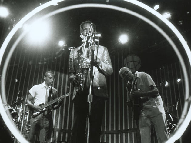 Ornette Coleman, center, and his band in Ornette: Made In America