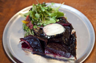 Beet tartine with ash goat cheese and micro-herbs at the Leadbelly