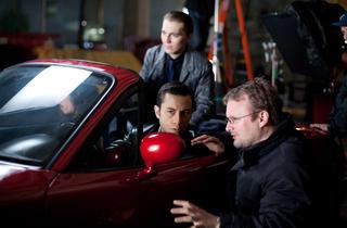 Rian Johnson, far right, the director of Looper