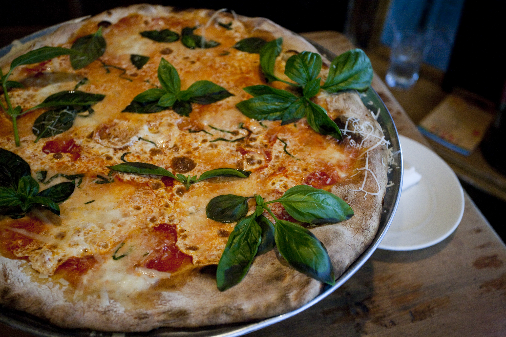 Pie with basil at Lucali