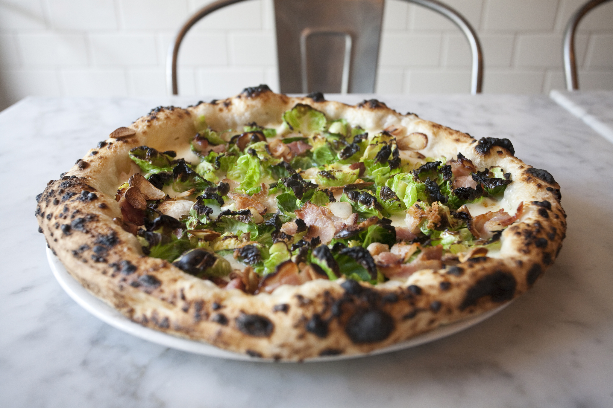 Brussels-sprouts-and-pancetta pie at Motorino
