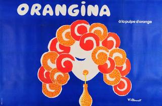 ('Visage de face sirote un Orangina, sa chevelure en forme de zeste est abondante', 1974 / © Schweppes International Limited / ADAGP, Paris 2012)