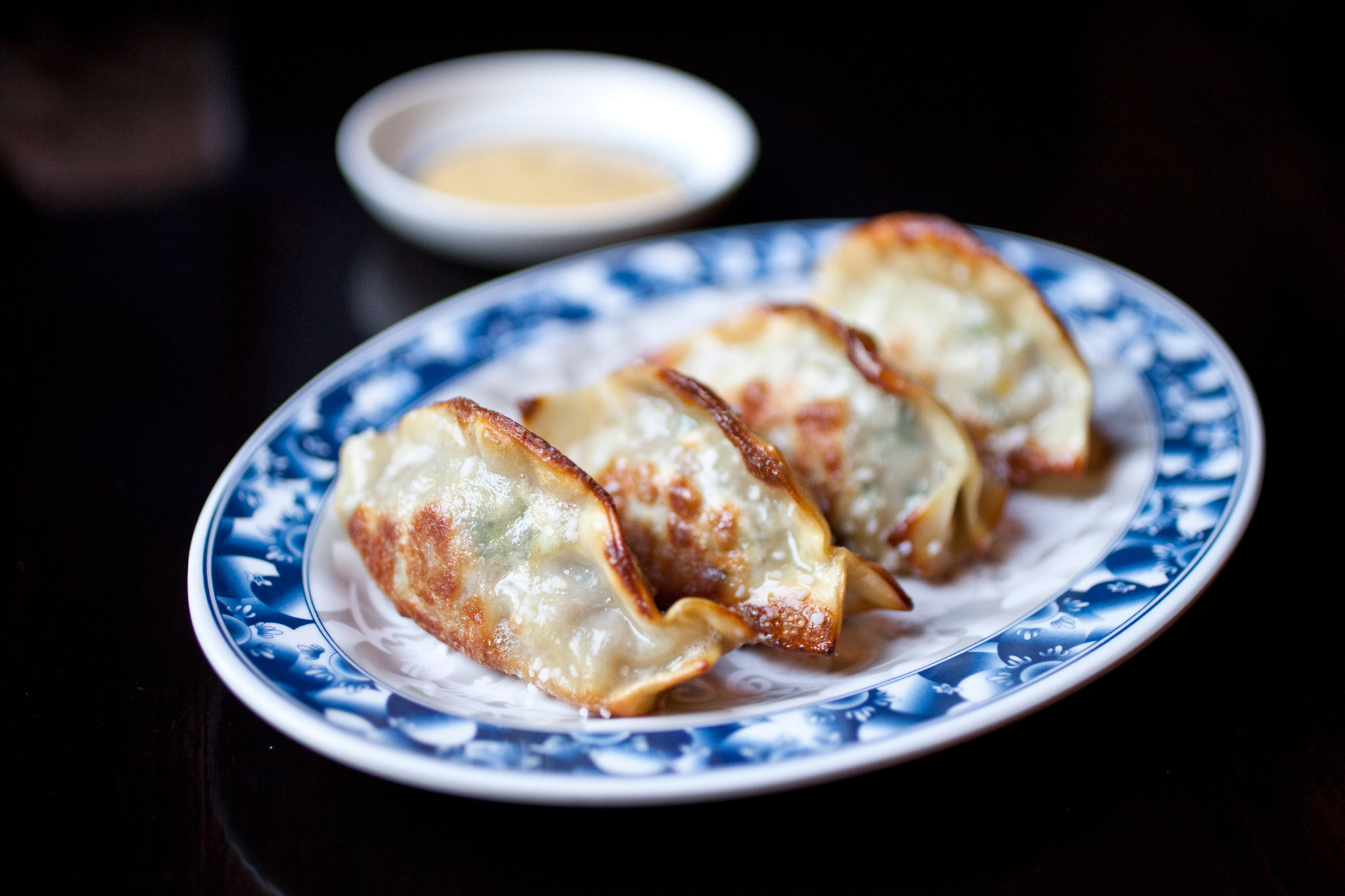 Pretzel pork and chive dumplings at Talde