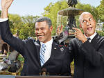 "Key and Peele, photographed in Central Park, posing as President Obama and Luther, Obama's ""Anger Translator""."