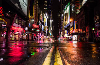 Times Square during Hurricane Sandy