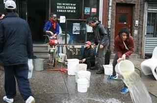 A Times Up! energy bike powers a pump to drain the basement of the Museum of Reclaimed Urban Space on Avenue C in the East Village after Hurricane Sandy.