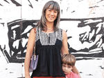 Public eye: Elizabeth Doyle, 40, and Kostas, 4