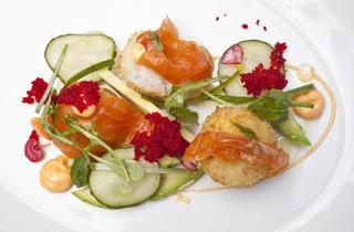 Sushi rice balls with avocado, spicy mayo and tobiko at Chez Sardine