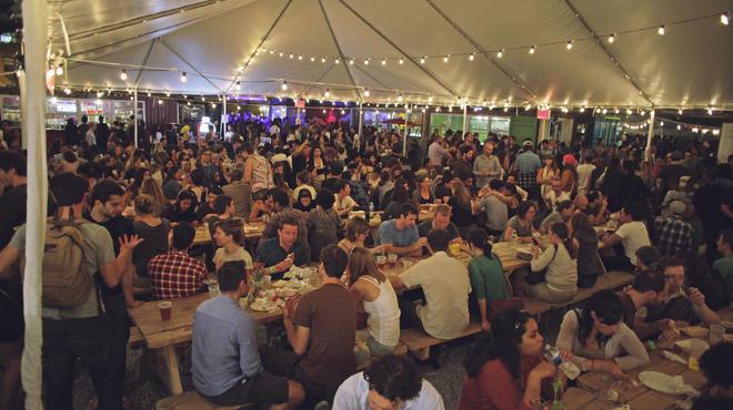 Beer garden at Brooklyn Night Bazaar