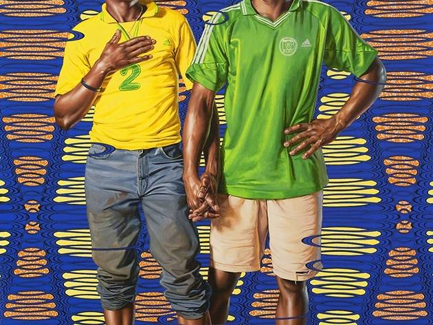('Alain Tala and Teddy Siemogne, 1919-1960', 2012 / Courtesy Galerie Daniel Templon, Paris / © Kehinde Wiley / Photo : B.Huet/Tutti)