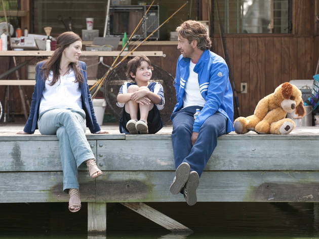 From left to right: Jessica BIel, Noah Lomax and Gerard Butler in Playing for Keeps