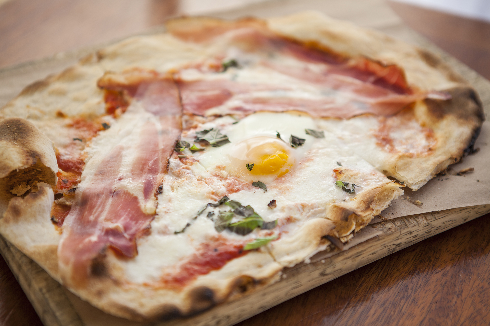 Pizza with sunny side up egg at Little Dom's