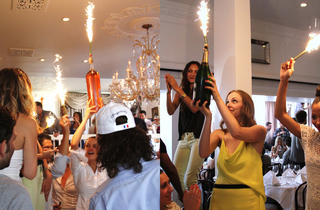 Champagne with sparklers at Bagatelle