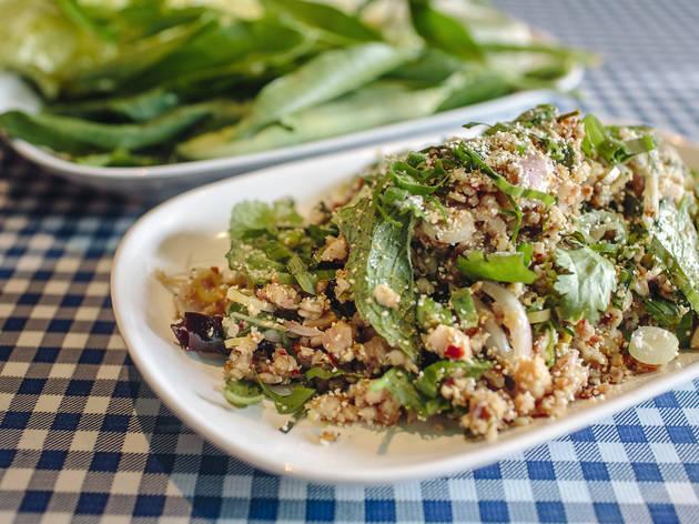 Laap plaa duuk yaang (catfish salad) at Pok Pok Ny