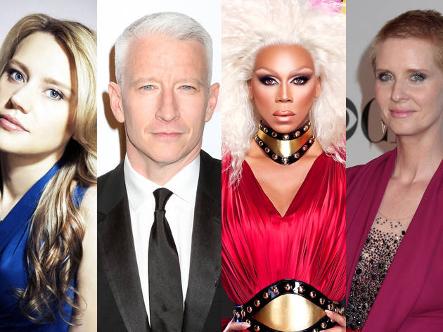 From left: Kate McKinnon is SNL's latest scene stealer; Anderson Cooper finally bit the bullet; RuPaul's Drag Race survived a network overhaul; Cynthia Nixon refused to be defined by the gay mainstream.