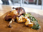 Rotisserie Chicken, Roasted Pineapple, and Rainbow Chard at Hu Kitchen