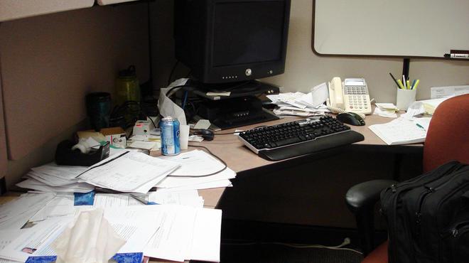 Not our desk, but fairly represenative... Has anyone seen our stapler?