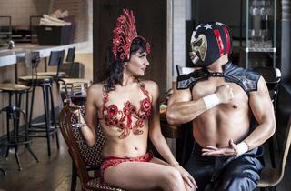 Carolina Cerisola and El Presidente of Lucha VaVOOM at Stella Rossa Pizza Bar