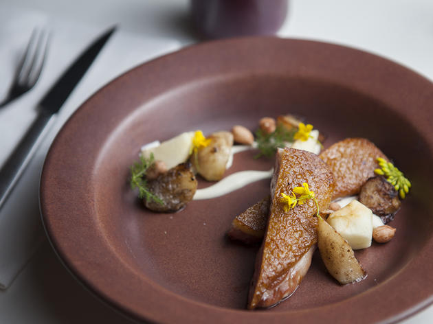 Roasted smoked duck with turnip, pear, peanut and coffee at Alma
