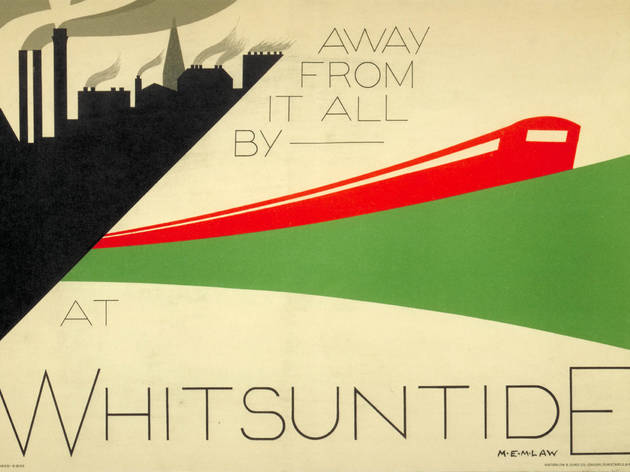 Away from it all… ('Away from it all by Underground at Whitsuntide', 1932, by MEM Law, © London Transport Museum)