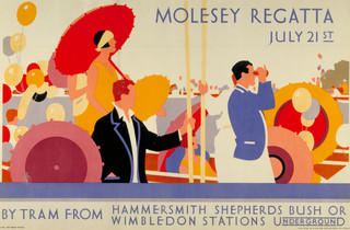 Molesey Regatta ('Molesey Regatta, July 21st', 1928, artist unknown, © London Transport Museum)