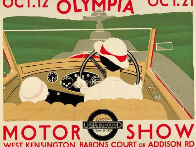 Olympia Motor Show ('Olympia Motor Show', 1933, by Andre Edouard Marty, © London Transport Museum)