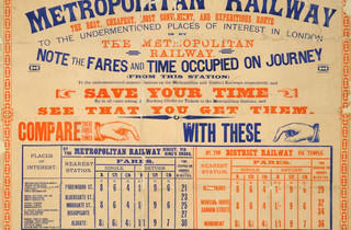 Fare Chart ('Metropolitan Railway Fare Chart', 1886, © London Transport Museum)