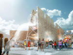 Rendering of CODA's Party Wall, winning design of the 2013 Young Architects Program. The Museum of Modern Art and MoMAPS1.