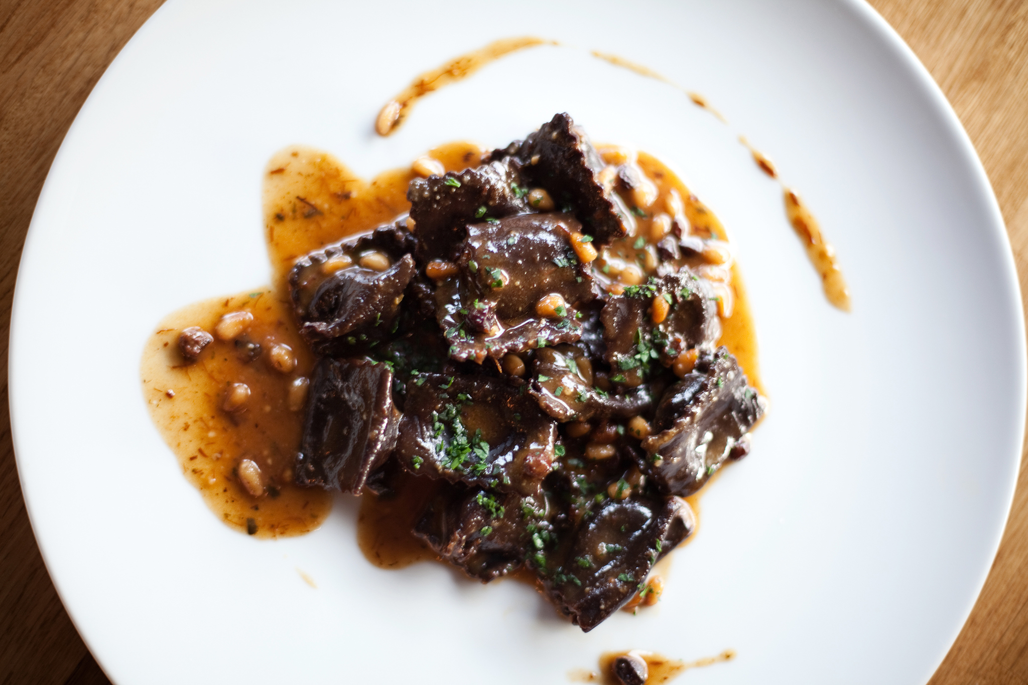 <p><em>Agnolotti</em> stuffed with braised beef cheeks at Bestia</p>