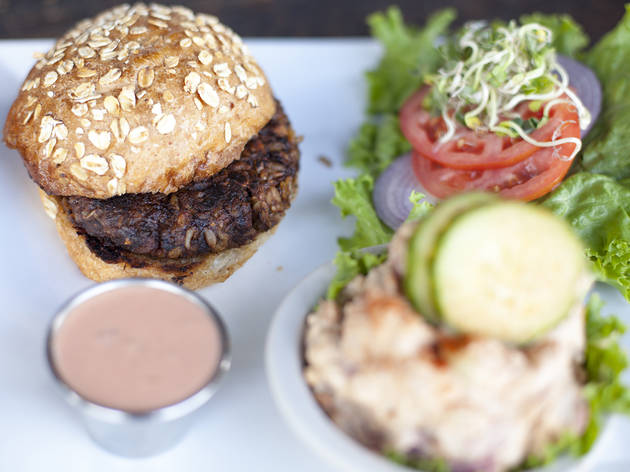 Portobello burger at Flore Cafe