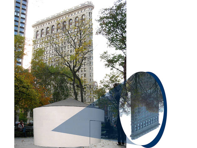 "Rendering of Sandra Gibson and Luis Recoder's ""Topsy-Turvy: A Camera Obscure Installation"" in Madison Square Park"