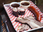 Brisket, rib tips and hot link at Bludso's BBQ