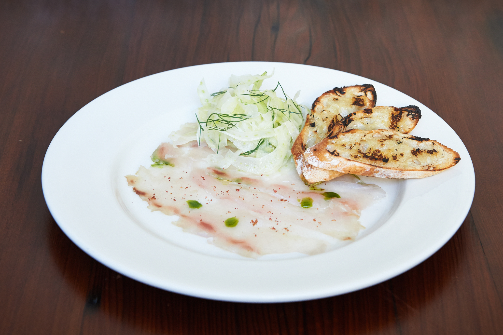 Grappa-cured striped bass at Runner & Stone