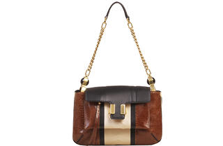 Chloé Art Deco–style ostrich-and-calfskin carryall, $1,375
