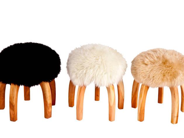 Desiron furry bar stools, $375 each