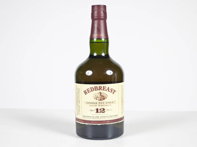 "Redbreast Irish Whiskey""This is a 100 percent pure pot-still whiskey that you should try."" The pure-pot-still distilling process is found only in Ireland, and utilizes a blend of malted and unmalted barley, imparting a musky and complex flavor. Available"