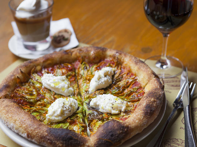 $20 bar special: tomato and burrata pizza, glass of wine, butterscotch buddino  at Pizzeria Mozza