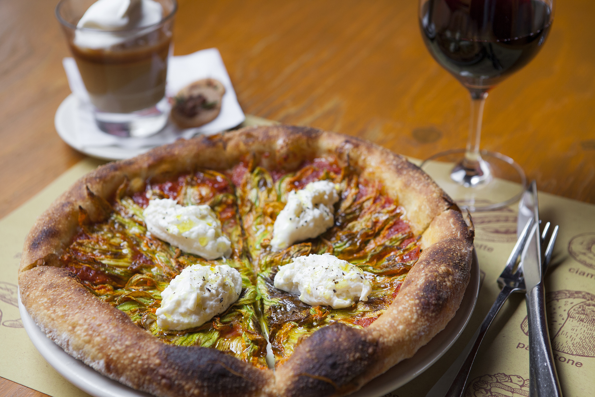 20 Bar Special Tomato And Burrata Pizza Glass Of Wine Butterscotch Buddino At