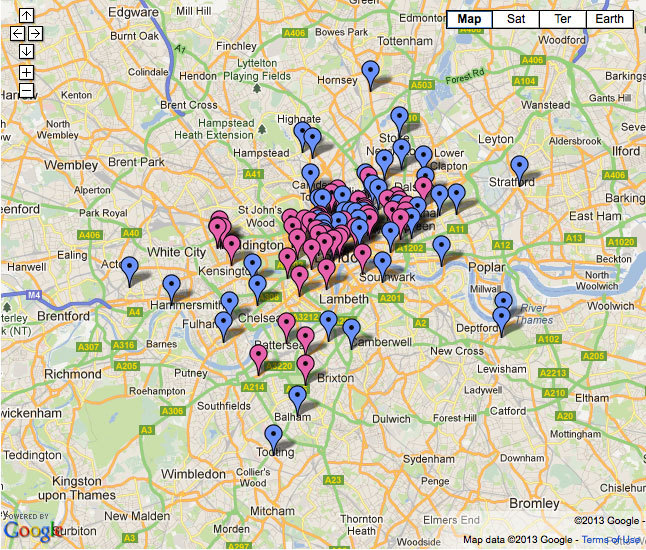 Map of London's best bars and pubs