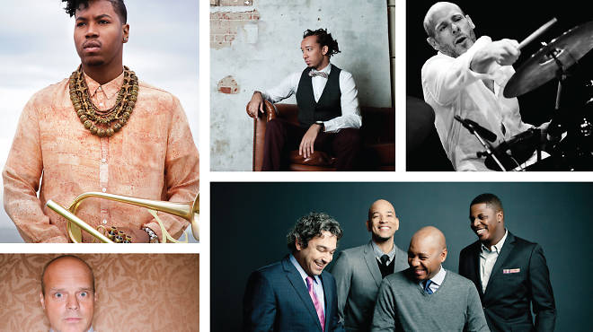 Clockwise from top left: Christian Scott (by Kiel Adrian Scott), Gerald Clayton (by Devin DeHaven), Jeff Ballard (by Andrea Boccalini), Branford Marsalis Quartet (by Eric Ryan Anderson), John Medeski (by Michael Bloom)