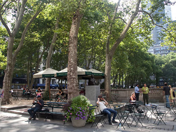 Relax at Bryant Park, then grab a drink at Hudson Terrace